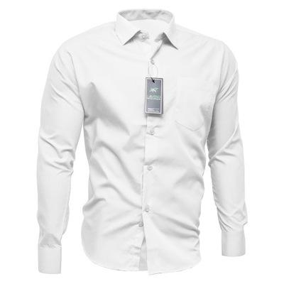 43/44 XL Koszula Męska Biała Długi Rękaw Bawełna