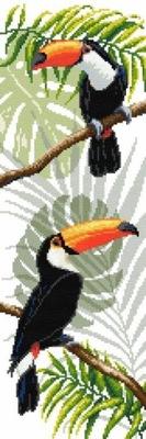Haft krzyżykowy - Kanwa z nadrukiem -Tukany