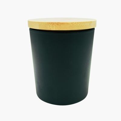 Słoik szklany czarny 230ml z wieczkiem bambusowym
