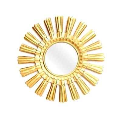 Zrkadlo SUN, zlaté, okrúhle, 29 cm, MDF, 0,4 kg