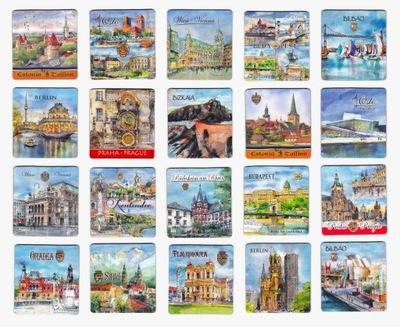 Magnesy na lodówkę zagranica 20 sztuk różne miasta