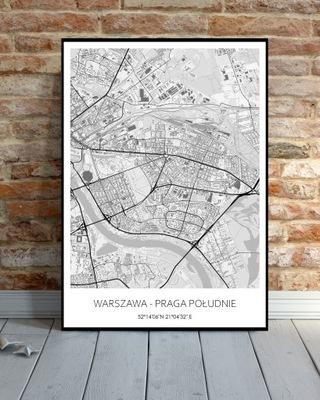 Plakat Mapa Miasta 50x70cm Warszawa-Praga Południe
