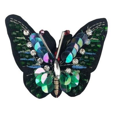 NASZYWKA Motylek cyrkonie koraliki haftowany