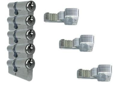 5 wkładek 30/30 na 1 klucz plus 30 kluczy nikiel