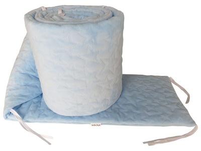 Ochraniacz do łóżeczka 60x120 Velvet 180cm Błękit