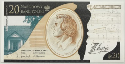 Fryderyk Chopin banknot 20 zł 2010 - OKAZJA PROMO