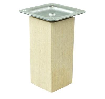 1x noga drewniana do mebli bukowa, prosta 10 cm