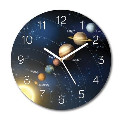 Układ planet kosmos zegar szklany do jadalni fi 30