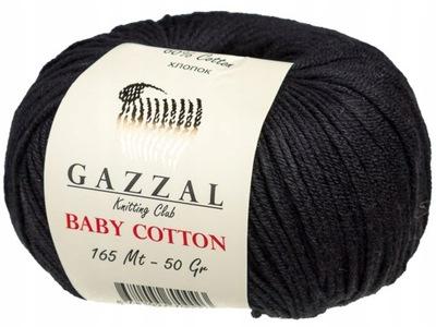 GAZZAL włóczka BABY COTTON 3433 CZARNY