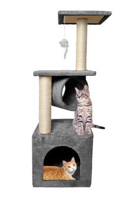 Strom pre mačky na strome pre mačku 90 cm sivý dom