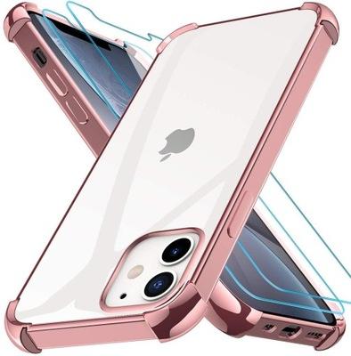 Etui iPhone 12 mini 5,4 + 2 x szkło Rose Gold
