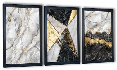 Nowoczesny zestaw 3 obrazów w ramie Marmury złoto
