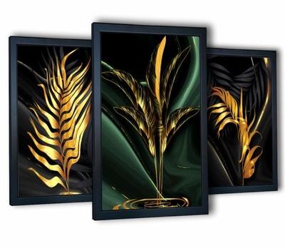 3 plakaty obrazy na ścianę złote liście 40x90