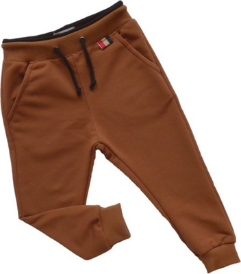Spodnie dresowe dresy brązowe kieszenie Revaj 104