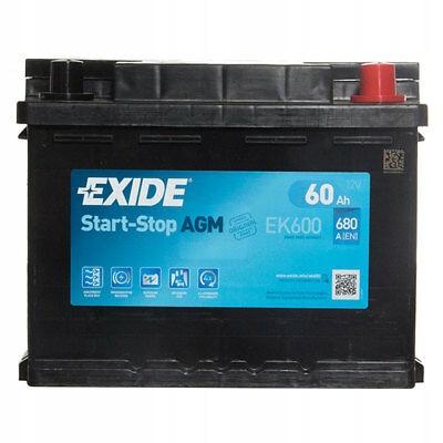 EXIDE EK600 AGM 60AH 680A СТАРТ СТОП P+