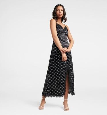 FOREVER NEW Sukienka satynowa maxi w grochy czarna