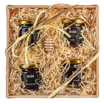 Корзина с подарками комплект меда и орехов мед 880г