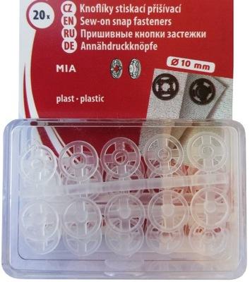 Zatrzaski Plastikowe 10 mm - 20 kpl Białe