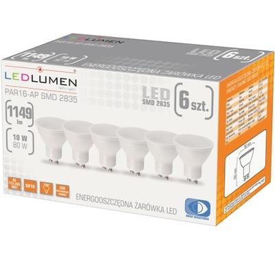 Zestaw 6x Żarówka LED GU10 10W=80W SMD 1149lm CCD