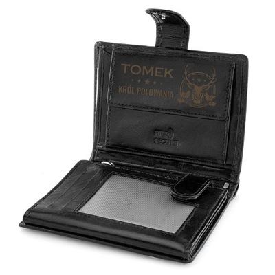 Czarny skórzany portfel GRAWER prezent RFID STOP