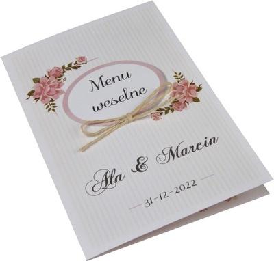 przepiękne, spersonalizowane menu na wesele-szybko
