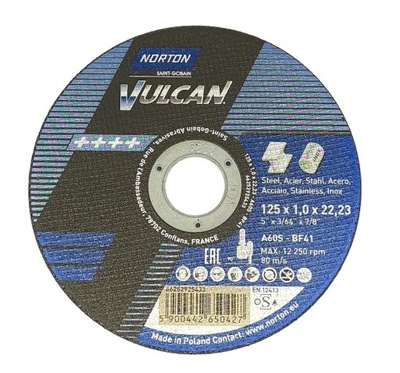 Tarcza do cięcia NORTON Vulcan 125x1,0
