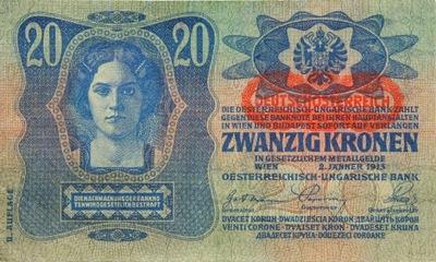 Австро-Венгрия - БАНКНОТЫ - 20 Крон 1913 Года С рисунком