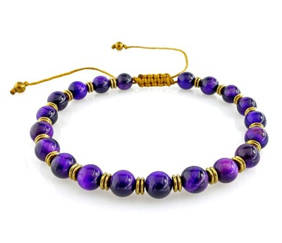 фиолетовая браслет тигровый глаз Гематита шнурок