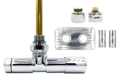 Chrómový regulačný ventil Unico 50 mm + spojka PEX + pravé rozety
