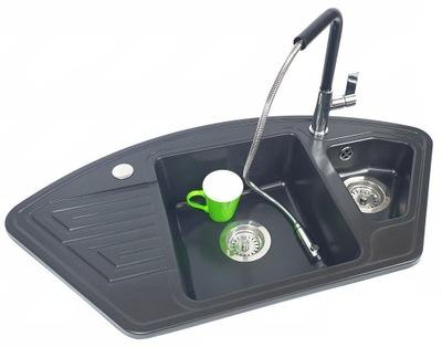 Rohové žulové umývadlo + výsuvný výtok BATÉRIE