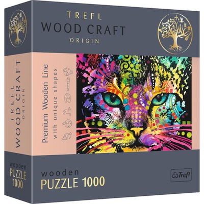 Puzzle drewniane 1000el - Kolorowy kot 20148
