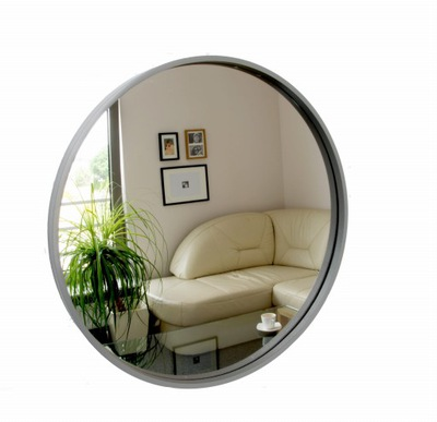 Okrúhle zrkadlo, drevené, 50 cm, šedé, škandinávske