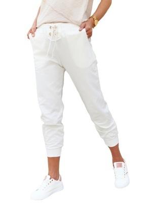 Ecru spodnie sportowe sznurowanie By o la la