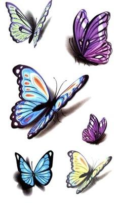Tatuaż TYMCZASOWY Motyl butterfly kolorowe słodkie