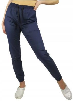 Spodnie medyczne joggery elastyczne granat roz. M