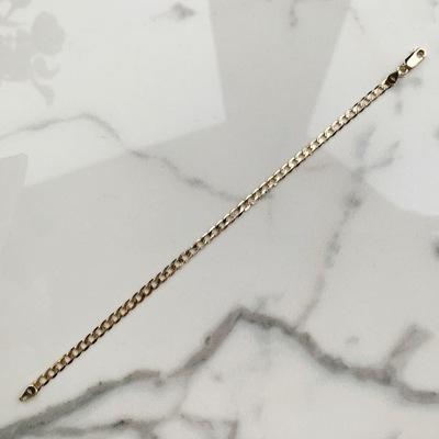 Złota bransoletka 18,5 cm pancerka pave 3,2 mm 585