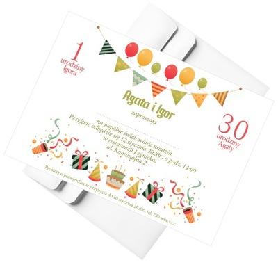 Zaproszenia urodzinowe, podwójne, podwójna okazja