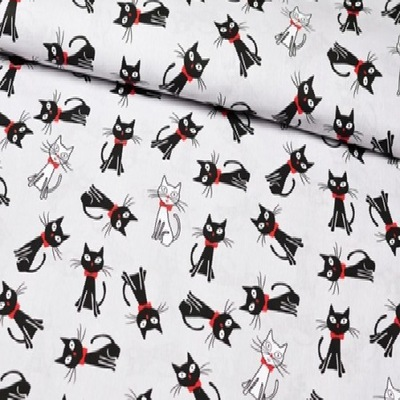 Tkanina bawełna 100% kotki z kokardką na szarym