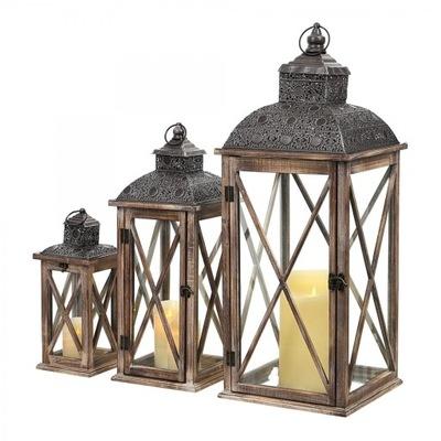 Drewniany LAMPION LATARNIA LATARENKA 81/61/39 3w1