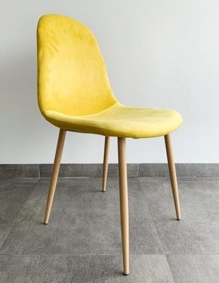 Krzesło Żółte Kanarkowe Welurowe Tapicerowane
