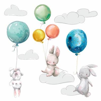 наклейки на стену КРОЛИКИ облака воздушные ШАРЫ детей