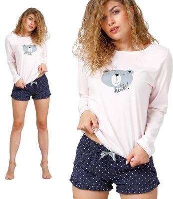 Piżama M-Max LETYCJA szorty długi rękaw różowa XL