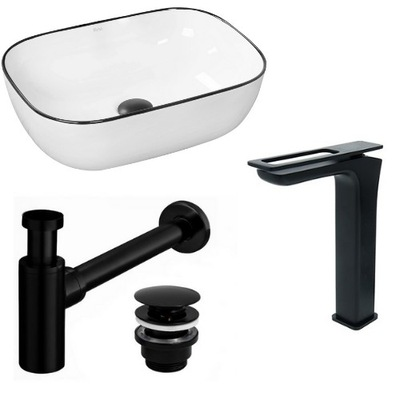 Umývadlo Marbel + faucet Soho Black + sifón