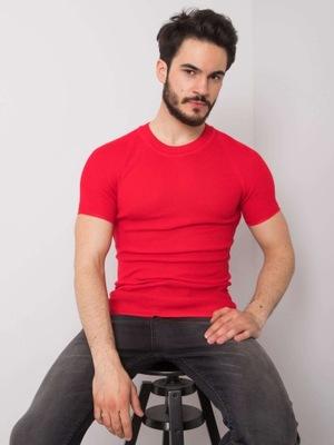 DZIANINOWY T-SHIRT MĘSKI Czerwony -XL-