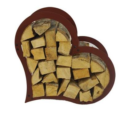 Stojan na palivové drevo tvar srdca H 52 x 54 cm