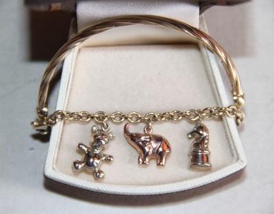 złota bransoleta charms słoń miś 585 apart pandora