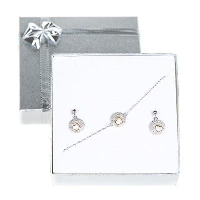 Zestaw srebrnej biżuterii kółeczko z serduszkiem