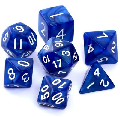 Komplet 7 kości RPG perłowe ciemnoniebieskie