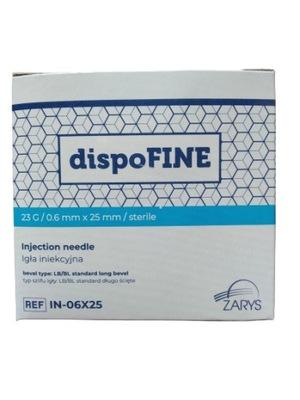 DispoFine Igły iniekcyjne 23G 0,6x25mm op.100 szt.