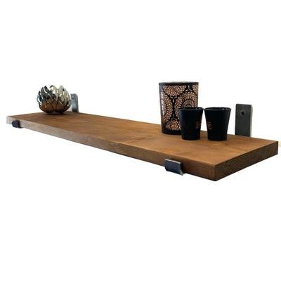 Półka drewniana do salonu kuchni 130cm + WSPORNIKI